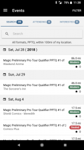 MTG Event Finder Initial Screen